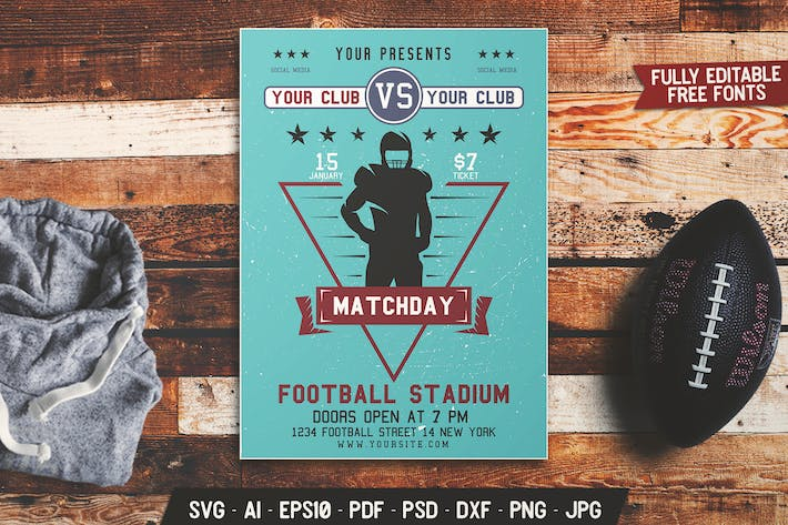 Thumbnail for American Football Match Day Flyer