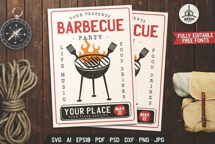 Barbecue Party Flyer. Summer BBQ Brochure