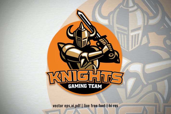 Thumbnail for Knight Warrior mascot sport and esport logo