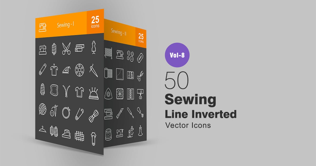 Download 50 Sewing Line Inverted Icons by Unknow