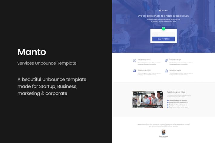 Thumbnail for Manto - Services Unbounce Landing Page