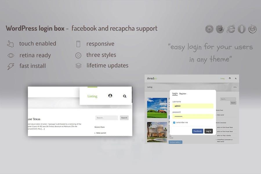 Login lightbox wordpress - easy login / register w