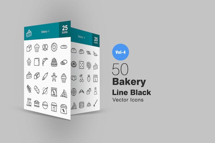 50 Иконки линии хлебобулочных изделий