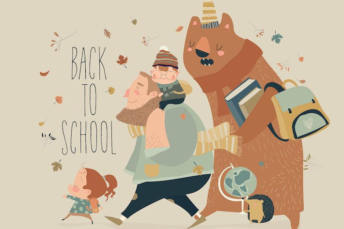 Thumbnail for Happy kids with animals going to the school.