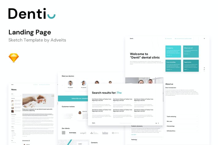 Denti - Landing page Sketch Template
