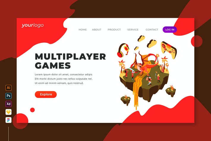 Thumbnail for Multiplayer Games - Isometric Landing Page