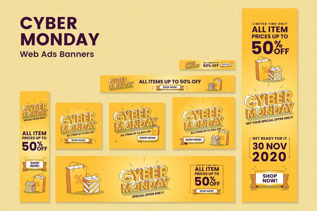 Cyber Monday - Web Ads Banners