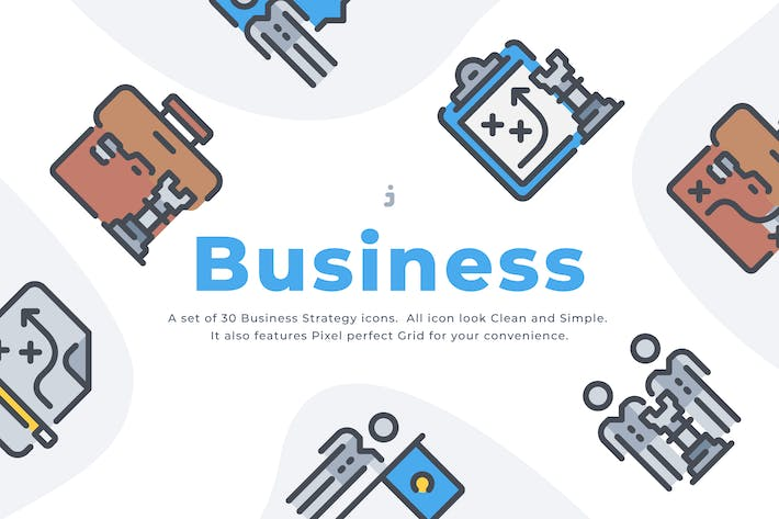 Thumbnail for 30 Business Strategy icon set