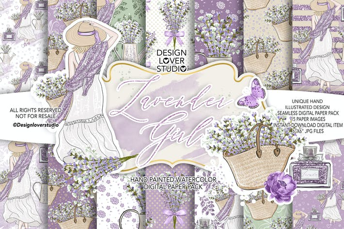 Thumbnail for Lavender Girl digital paper pack