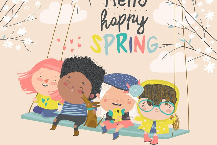 Thumbnail for Happy kids flying on a swing in spring garden.
