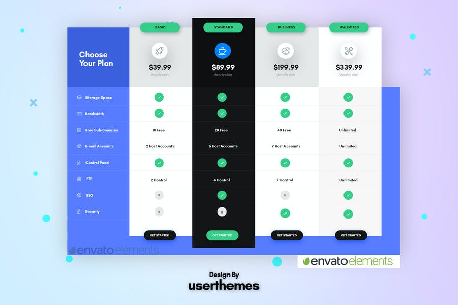 Business Pricing Table UX PSD Template