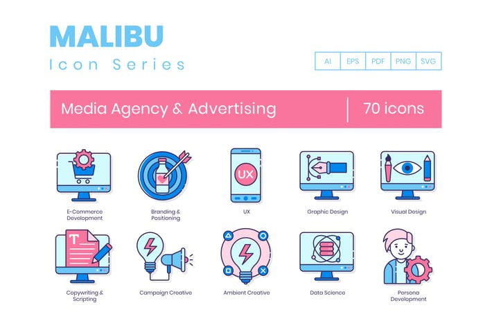 Thumbnail for 70 Media Agency & Advertising Line Icons