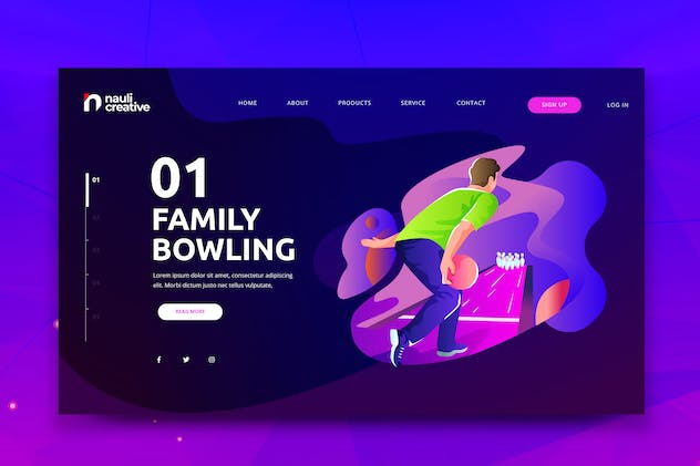 Family Bowling Web PSD and AI Vector Template
