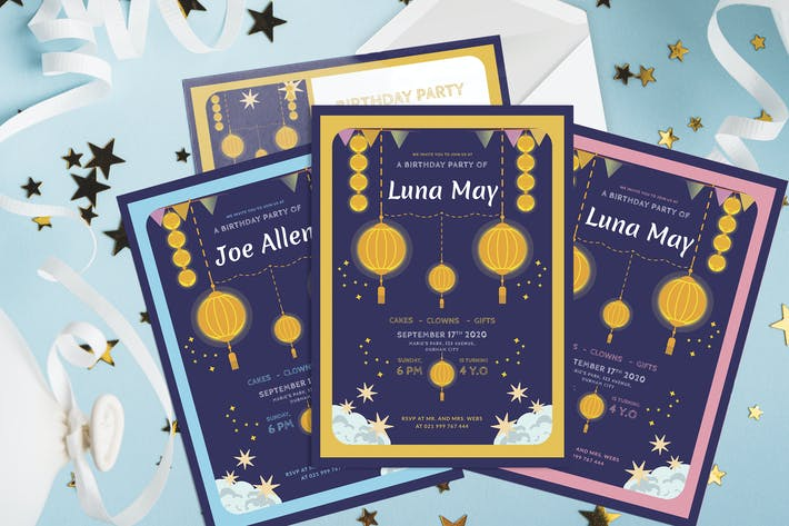Thumbnail for Small Asian Lantern - Kids Birthday Invitation