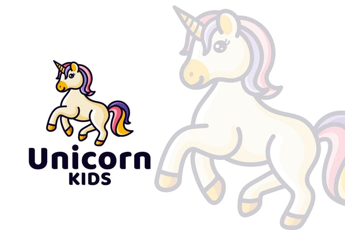 Thumbnail for Unicorn Kids Cute Logo Template