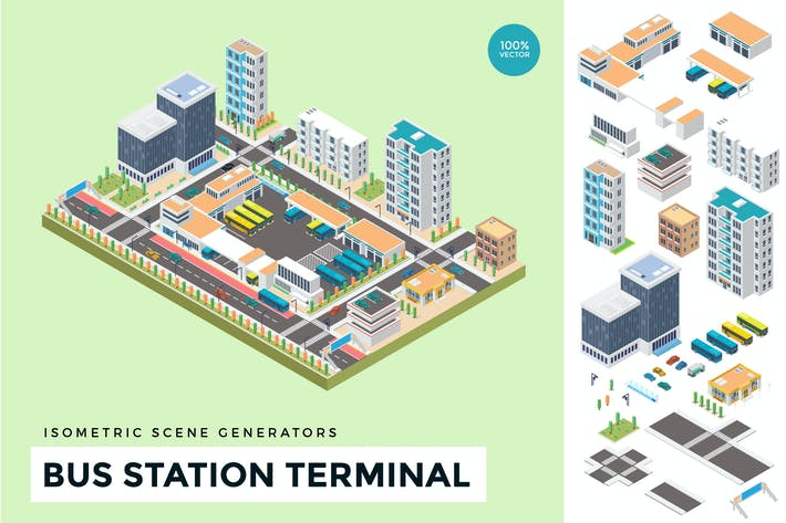 Thumbnail for Isometric Urban Bus Station Vector Scene Creator