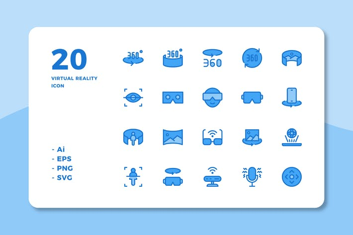 Cover Image For 20 Virtual Reality Icons (Lineal Color)