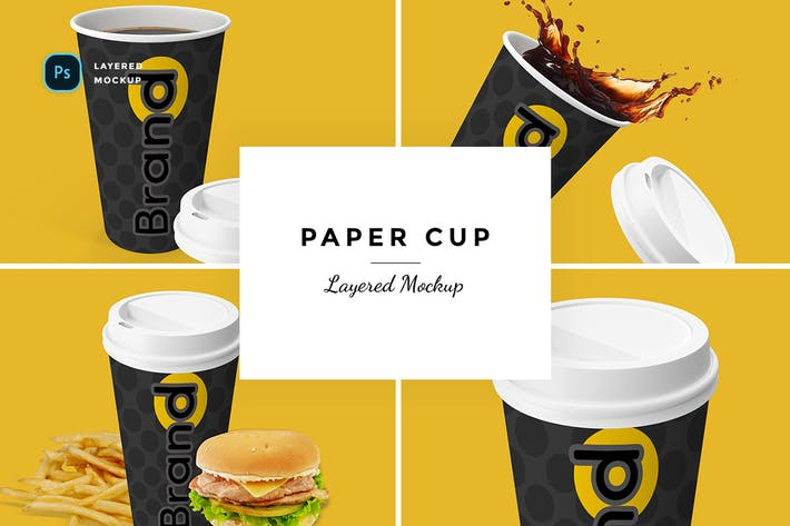 Thumbnail for Layered Paper Cup Mockup with different angles