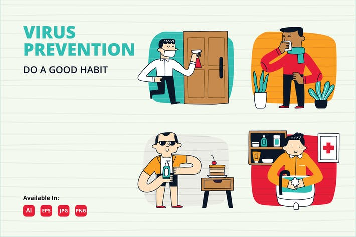 Thumbnail for COVID 19 prevention habit doodle