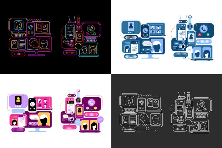 Thumbnail for 10 options of an Online Chatting Vector Design