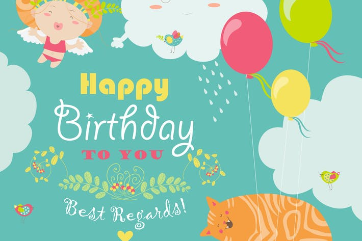 Thumbnail for Vector birthday card with cute cat and angel