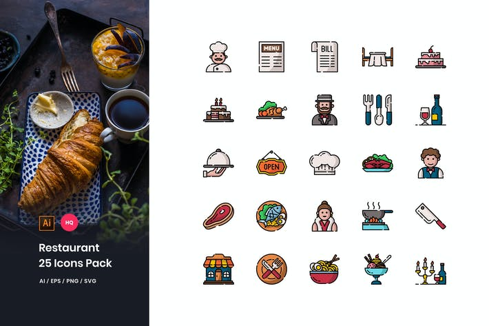Thumbnail for Restaurant Icons Pack
