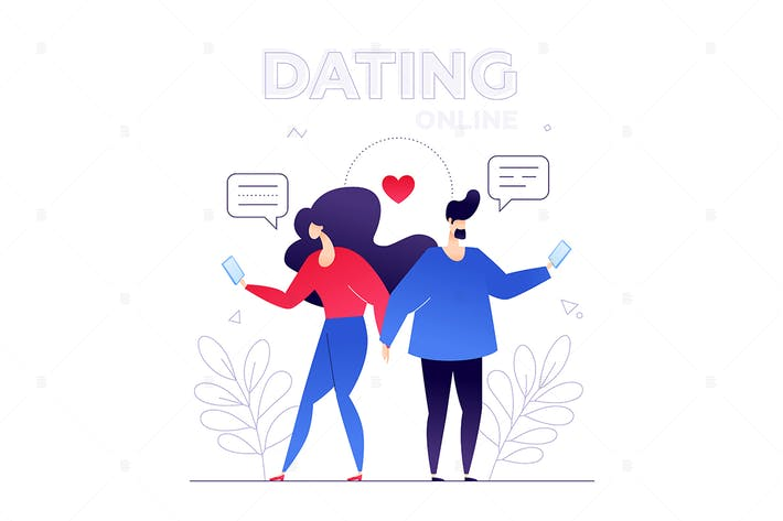 Thumbnail for Dating online - flat design style illustration