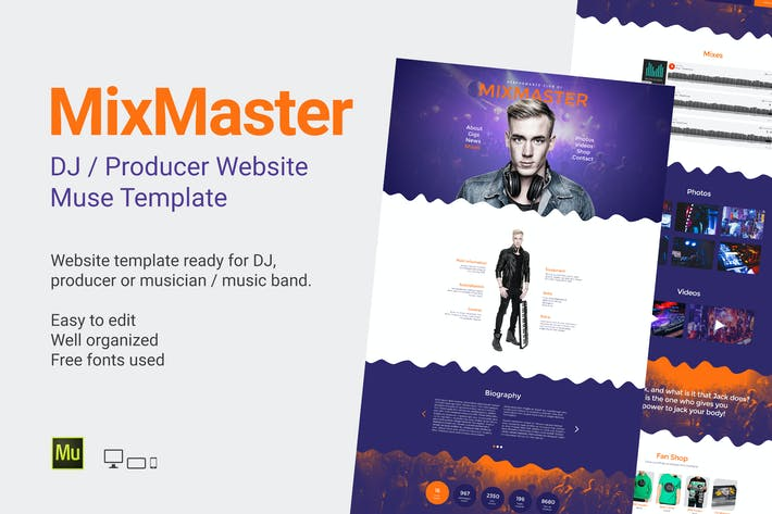 Thumbnail for MixMaster - DJ / Producer Website Muse Template