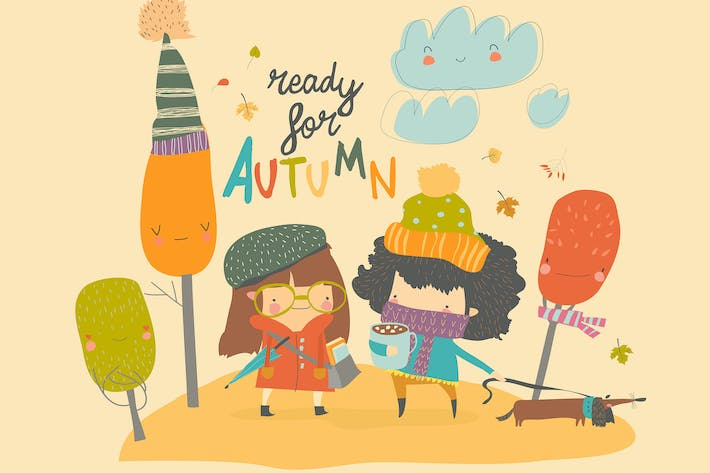 Thumbnail for Happy cute girls walking in autumn park. Vector