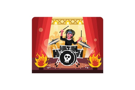 Rock Musician Drummer playing Drums on Stage