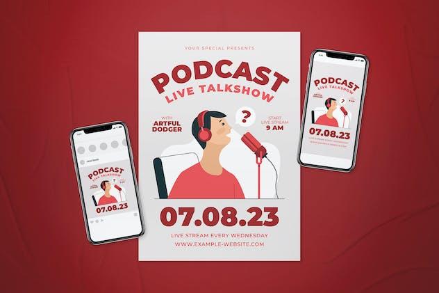 Live Talkshow Podcast Flyer Set