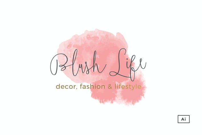 Thumbnail for Blush Life Watercolor Logo Template