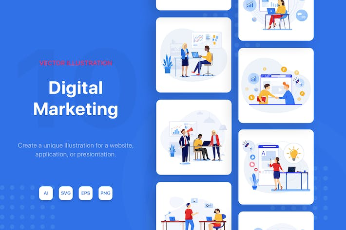 Digital Marketing Illustrationen