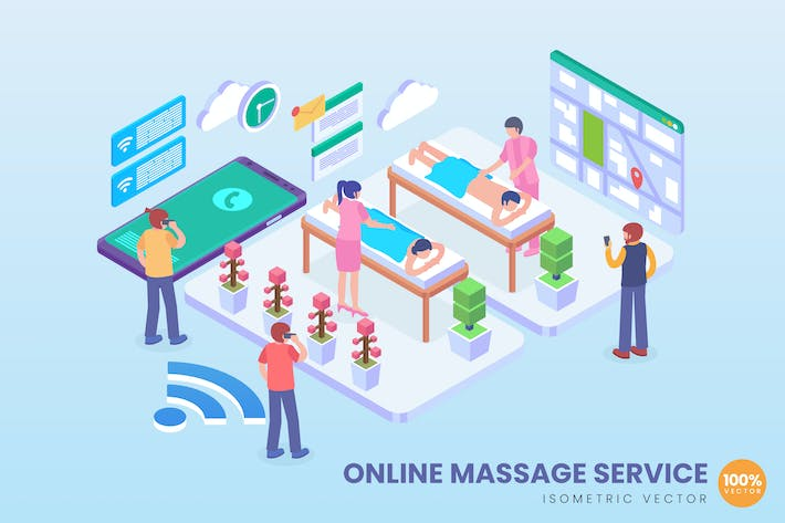 Thumbnail for Isometric Online Massage Service Vector Concept