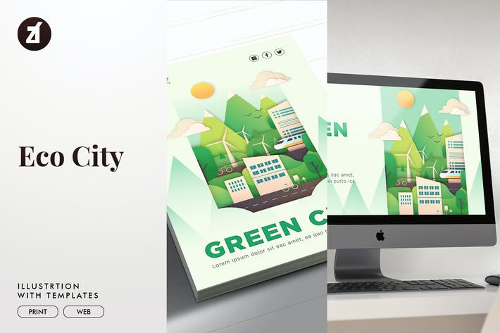 Thumbnail for Eco city illustration with graphic layout