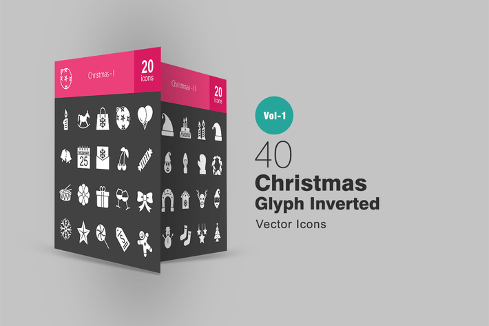 Thumbnail for 40 Christmas Glyph Inverted Icons