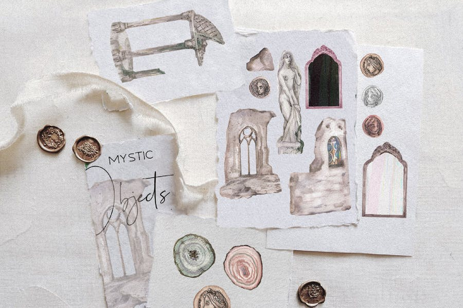 Watercolor magic - candles, snakes, ruins ect.
