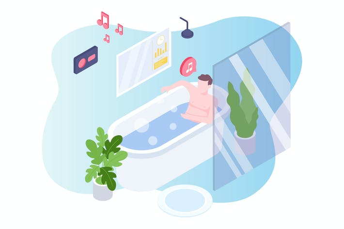 Thumbnail for Smart Bath Voice Control Isometric Illustration