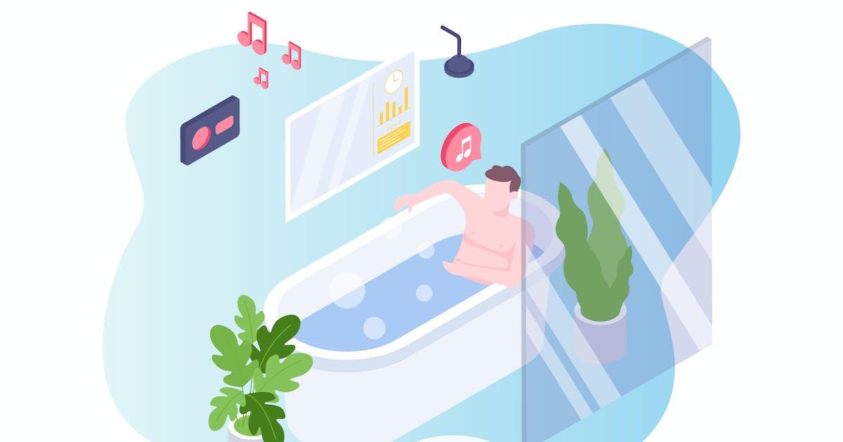 Smart Bath Voice Control Isometric Illustration by angelbi88