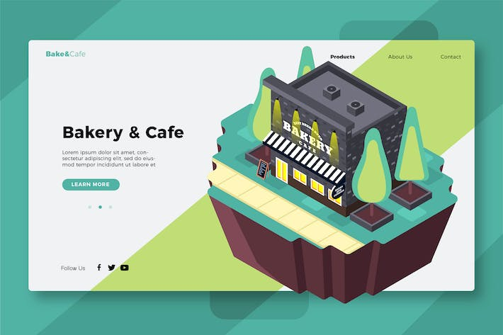 Thumbnail for Bakery & Cafe - Banner & Landing Page