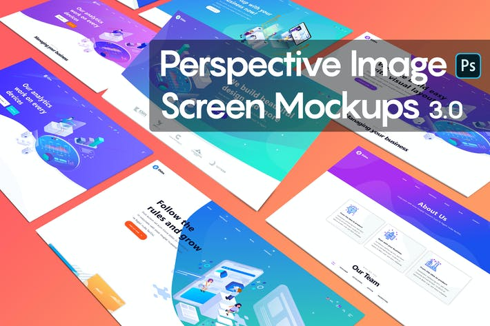 Cover Image For Perspective Image Screen Mockups 3.0
