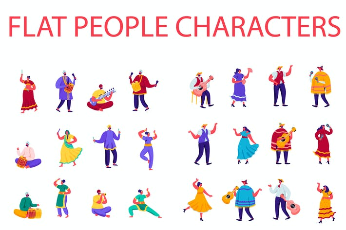Thumbnail for Flat Cartoon People Characters