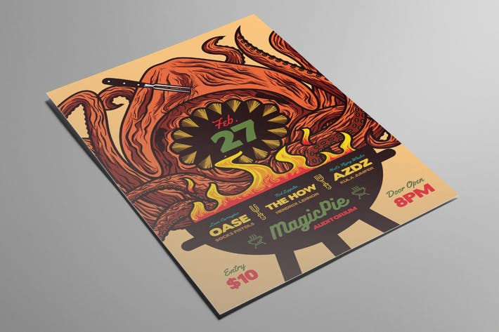 Barbecue Monster Indie Rock Flyer