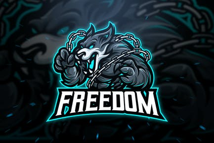Freedom Wolf Sport and Esport Logo Template