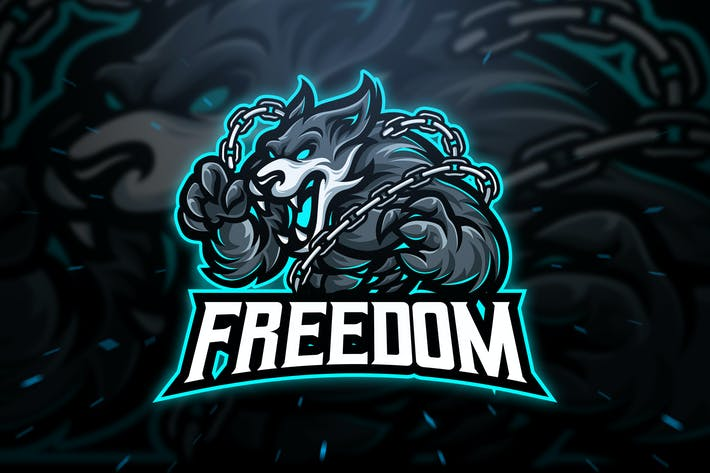 Thumbnail for Freedom Wolf Sport and Esport Logo Template