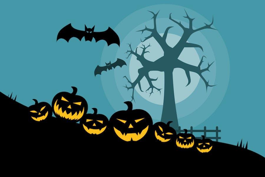Хэллоуин Страшные Тыквы - Иллюстрация фон