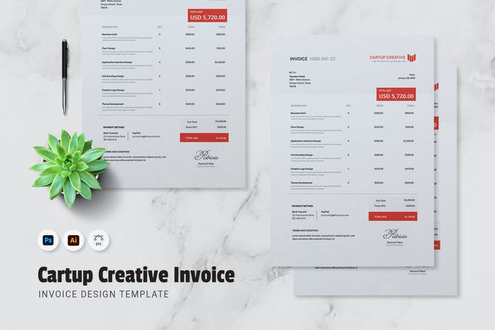 Thumbnail for Cartup Creative Invoice