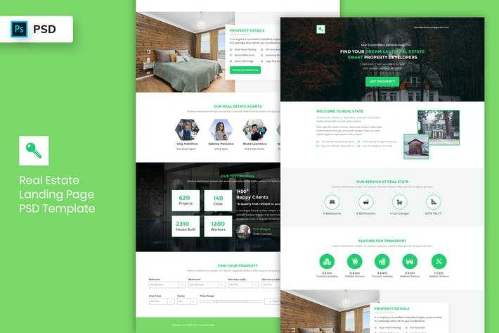 Thumbnail for Real Estate - Landing Page PSD Template-02