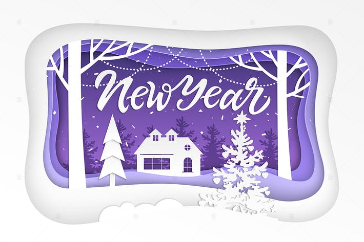 Thumbnail for New Year - modern paper cut illustration