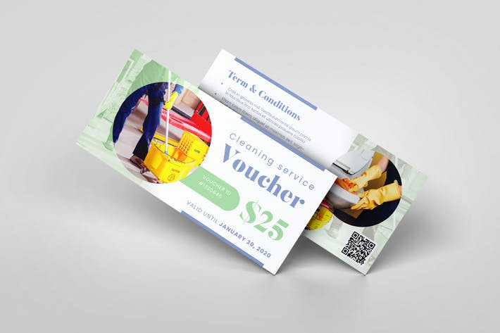 Cleaning Service AI and PSD Gift Voucher Template